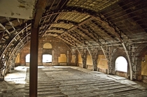 The stripped out ballroom on the top floor of the Divine Lorraine in Philadelphia