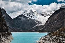 The stunning ice blue waters of Laguna Paron surrounded by snow-capped colossi