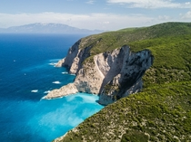 The stunning limestone cliffs across the island of Zakynthos Greece