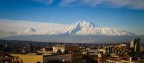 The stunning Mt Ararat looks over Yerevan the capital city of Armenia  photo by uWadyflamer