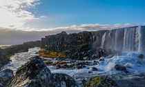 The stunning Oxararfoss Falls in Thingvellir Iceland
