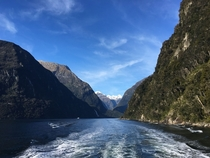 The stunning view from the little ship at Milford Sound New Zealand