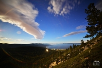 The Summer Solstice full moon lighting up the Lake Tahoe basin last night
