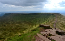 The summit of Corn Du the second highest peak in the Brecon Beacons South Wales