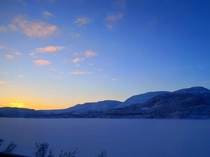 The sun barely under the horizon near Skoganvarre Finnmark County in Norway  x