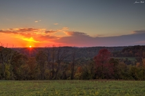 The sun begins to set behind the rolling hills of Western Pennsylvania Taken today
