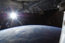 The sun captured over Earths horizon by one of the Expedition  crew members aboard the ISS May