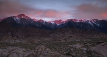 The sun crept over the Inyo Mountains and burned the Eastern Sierra with color The Alabama Hills Lone Pine California USA