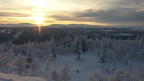 The sun sets over a remote Swedish ski resort
