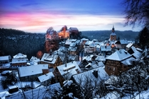 The sun sets over Hohnstein Germany  Photographed by Fresch-Energy