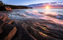 The sun sets over Lake Superior - Pictured Rocks National Lakeshore