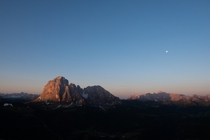 The sunrise on the Dolomites Italy