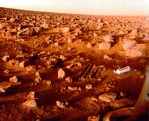 The surface of Mars imaged by NASAs Viking  lander on September   The cylindrical object on the right is the shroud for the probes sampler instrument ejected after landing
