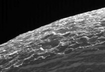 The surface of Saturns moon Dione