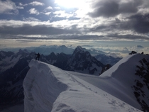 The Swiss Alps from the summit of Mont Blanc du Tacul