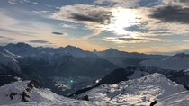 The Swiss Alps right before sunset