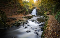 The tail end of autumn at Gleno Waterfall Co Antrim Northern Ireland