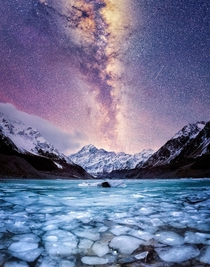 The tallest mountain in New Zealand Mt Cook under the Milky Way OC