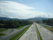 The Tauern Autobahn at its intersection with the West Autobahn near Salzburg Austria