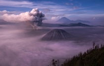 The Tengger massif in East Java Indonesia Five volcanoes nestled inside the caldera of the ancient super volcano Mount Bromo is just waking up for the day