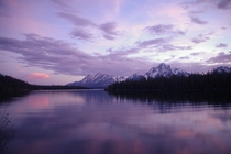 The Tetons at sunset shot from Colter Bay Grand Teton National Park