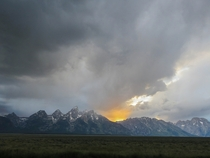 The Tetons - Storm at Sunset