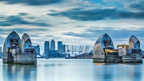 The Thames Barrier a moveable tidal defence system that stops London being flooded