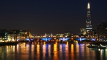The Thames River from the Millennium Bridge at night