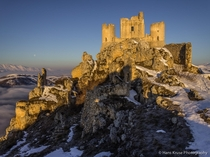 The thirteenth century mountaintop fortress of Rocca Calascio in Abruzzo Italy