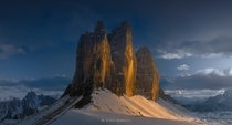 The three peaks of Lavaredo Italy  by Nicola Bombassei