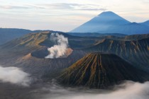 The three volcanoes of Bromo Tengger Semeru National Park Indonesia