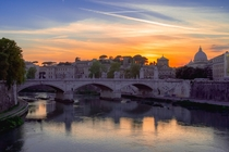 The Tiber River at Sunset Rome - Looking towards St Peters Basilica in the Vatican