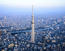 The Tokyo Skytree dwarfing surrounding neighborhoods