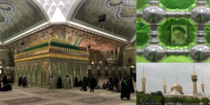 The tomb of Ruhollah Khomeini leader of Irans Islamic Revolution and its first Ayatollah A  reconstruction transformed the barren interior into a massive and lavish pilgrimage site integrating state propaganda into Shiite mythology At left is the zarih an