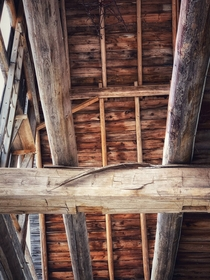 The tool marks are still visible on the support beam in this century old barn