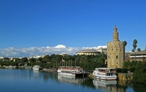 The Torre del Oro by the water in Seville Andalusia