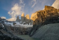The Torres at sunrise Torres del Paine National Park Chile