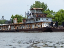 The towboat Ohio has seen better days Its tied up at a scrap iron facility in South St Paul MN  httpiimgurcommnQbfyijpg