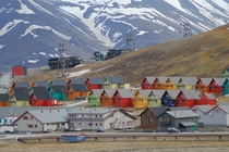 The town center of Longyearbyen the largest settlement in Svalbard