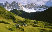 The town of Santa Maddalena Funes Italy