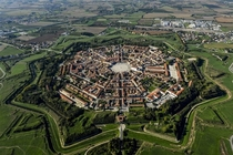 The town on Palmanova italian star fort from