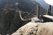 The Trift Bridge is the longest pedestrian-only suspension bridge in the Swiss Alps spanning  metres  ft at a height of  metres  ft