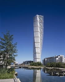 The Turning Torso Malmo Sweden designed by Spanish architect structural engineer sculptor and painter Santiago Calatrava and officially opened on  August