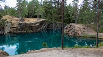 The turquoise water of the Silvberg mine in Dalarna Sweden