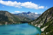 The turquoise waters of Colchuck Lake near Leavenworth Washington