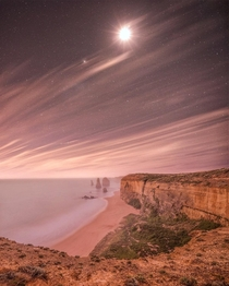 The Twelve Apostles - notice the ruins in the water Australia under moonlight