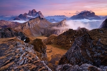 The twin peaks of Mt Pelmo amp Mt Civetta in the Dolomites Italy  by Tomas Tichy