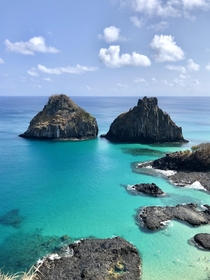 The Two Brothers jutting out the Atlantic Fernando de Noronha Brazil