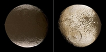 The two faces of Iapetus with one face covered with ices and the other with material from another Saturnian moon
