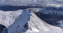 The UK is beautiful too when the weather decides to play nice Striding edge from the summit of Helvellyn Lake District Cumbria x